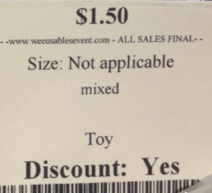 "This toy tag has nothing on the two description lines except the word ""mixed."""