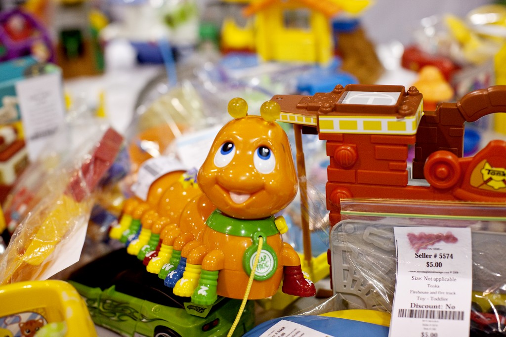 This close-up shows some of the hundreds of toys available for sale at every WeeUsables Event, from people who want to make money offloading their kids' outgrown stuff. But that's not you..